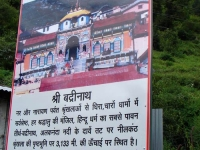 Sign Board about Badrinath from Uttarakhand Tourism