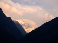 View of Snow Capped Himalayas on the way to Gangotri from Uttarkashi