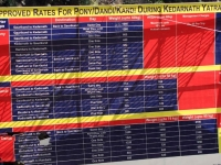 Approved rates for Ponies, Horses, Palkies from Gaurikund to Kedarnath
