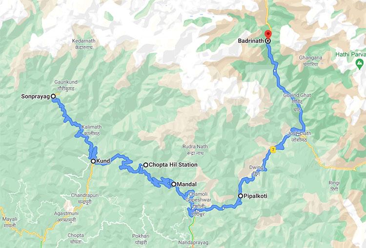 Kedarnath To Badrinath via Mandal road