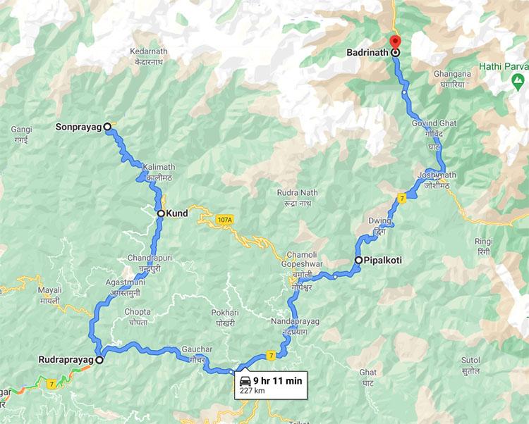 Kedarnath To Badrinath via Rudraprayag road