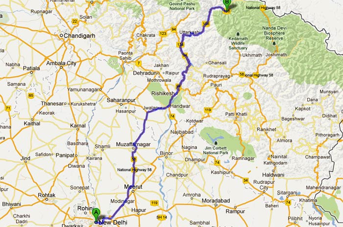 Delhi to Gangotri Route Map