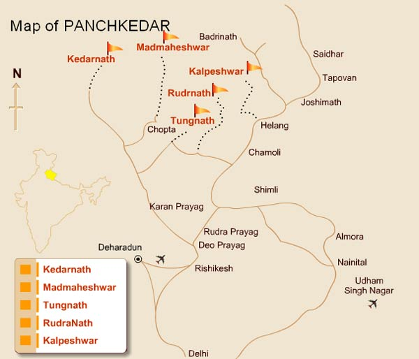 Panch Kedar Route Map