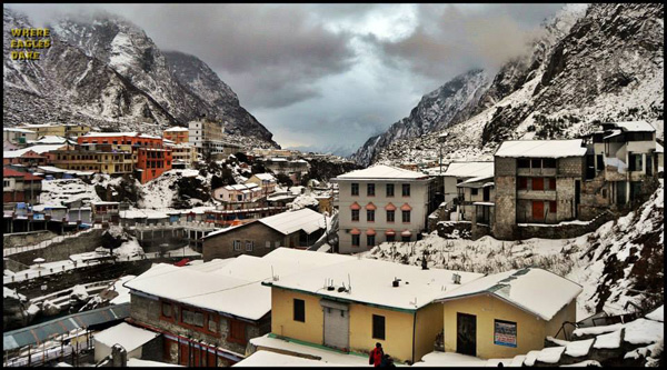 The snow covered Badrinath Shrine
