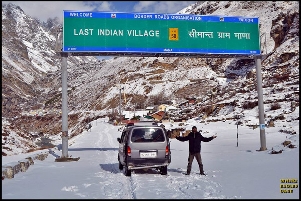 Tilak Soni of Where Eagles Dare at the entry point of Mana village