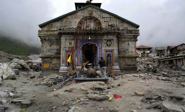Kedarnath Temple after floods