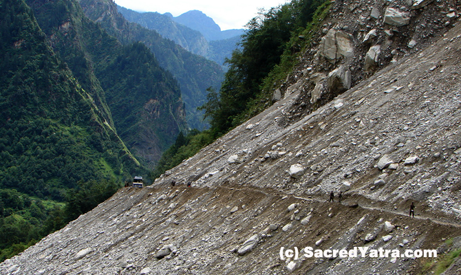 Damaged Roads on Badrinath Highway