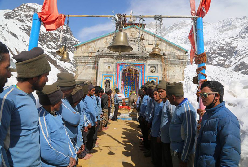 NIM Team in front of Kedarnath during Shivratri
