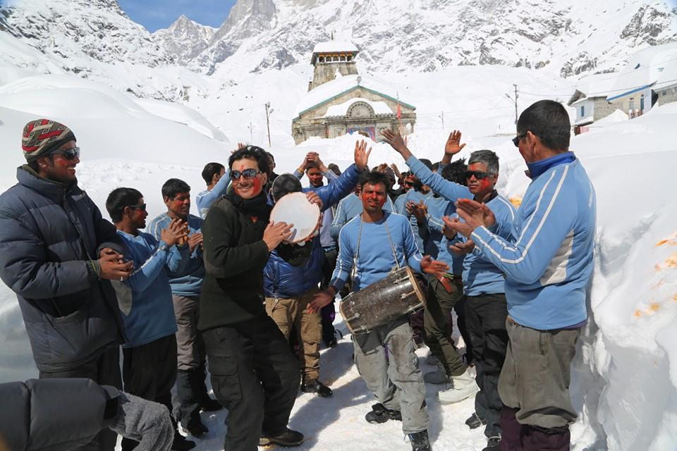 Holi with colours in Kedarnath