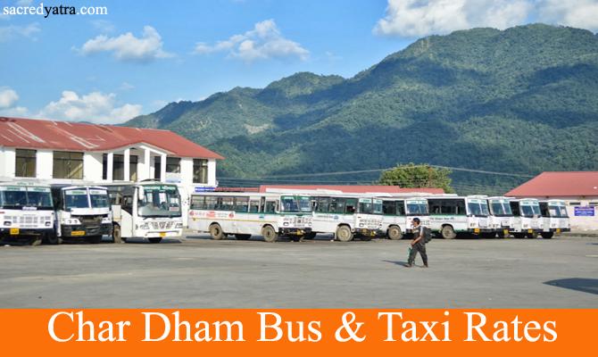 Char Dham Yatra Bus Taxi Tariff Rates