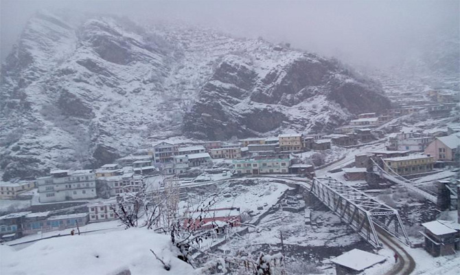 Snow spell in Chardham and other higher peaks