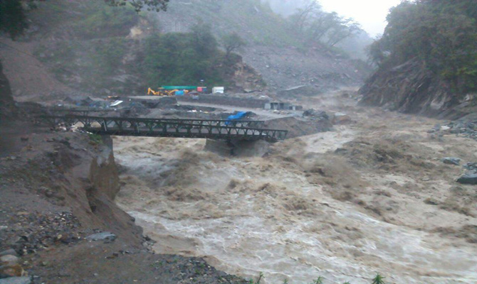 Torrential rain washed away a vital bridge on the way to Kedarnath