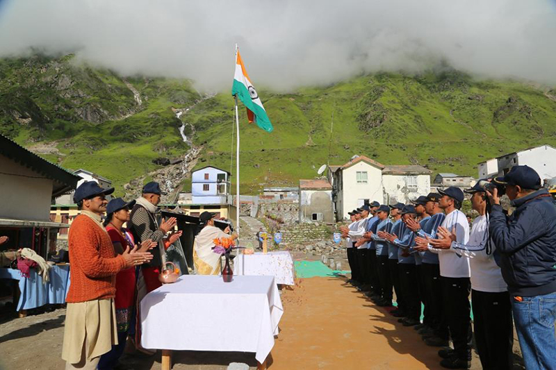 Flag Hoisting at Kedarnath