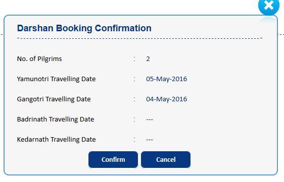 Char Dham Booking Form for Online Registration