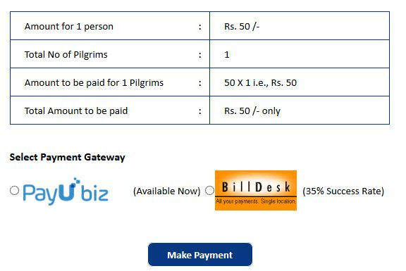 Chardham Yatra Registration Online Payment Form