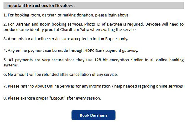 Important Instructions for Chardham Yatra Online Registrations