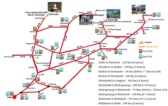 Route Map for Chardham Yatra