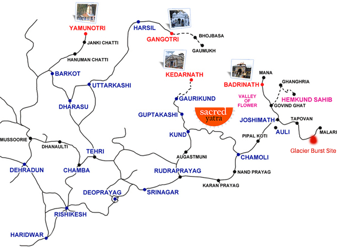 Chardham Yatra Route Map with Glacier Burst Location