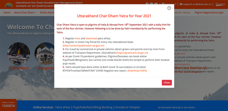 Chardham Yatra Registration Yatra ePass Official Website 2021 home page