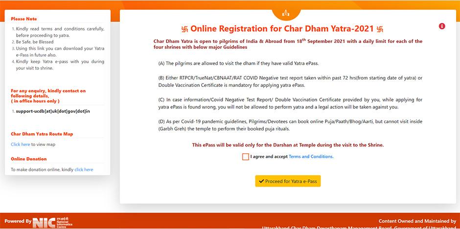 Chardham Yatra Registration Yatra ePass T&C page