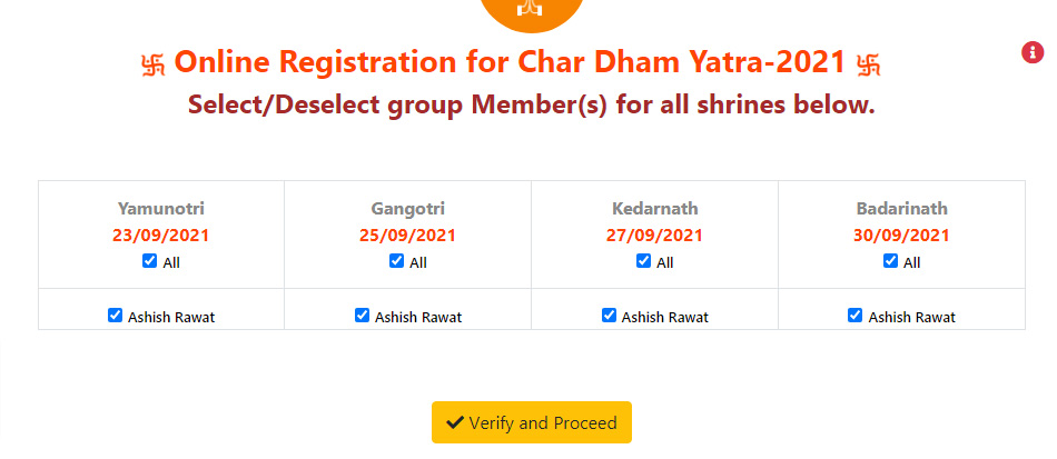 Chardham Yatra Registration Yatra ePass selection page